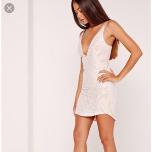 0a2d9251 Missguided Dresses - strappy plunge lace contrast bodycon dress white